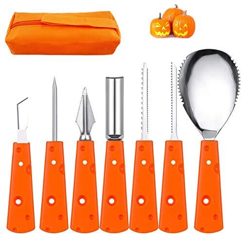 Pumpkin Carving Tools Set 7 PCS Stainless Steel Halloween Knife Set Heavy Duty Pumpkin Sculpting Tool Kit Jack-O-Lantern for Halloween Decoration with Storage Bag -