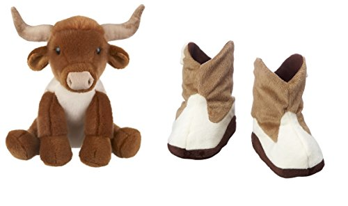 - Baby Ganz Wee Wester Cowboy Boot Slippers and Hertiage Collection Longhorn Bull Gift Set