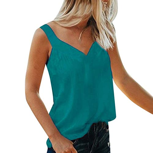 Aunimeifly Women Pure Color Tank Tops Sexy V-Neck Vest Sleeveless Tops Loose Casual Camisole Blouse Blue