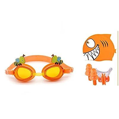 Kid Bonnet de bain + Lunettes de natation + Pince-nez et bouchons d'oreilles Ensembles, Szhaiyu Funny Animal Dessin animé, Cute Bee Lunettes de natation avec anti-buée, imperméable, protection UV, bouchon