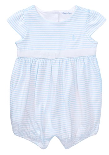 RALPH LAUREN Baby Girl Striped Cotton Jersey Romper (6 Months, Beryl Blue/White) ()