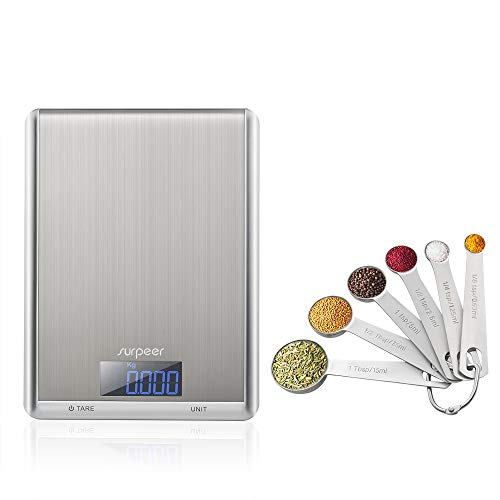 (Kitchen Scales, SURPEER 11lb/5kg Digital Food Scale with 18/8 Set of 6 Measuring Spoons Stainless Steel, Tare Function Electronic Kitchen Scale, LCD Display Measuring Scale, Silver(Batteries Included))