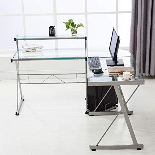 Mecor L-Shaped Corner Computer Desk with Shelf & Stand, Glass Laptop PC/Computer Table Workstation Home Office Furniture, Glass & Metal, Clear by Mecor (Image #2)