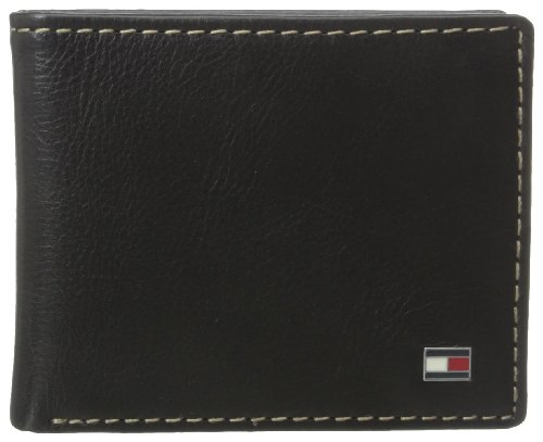 (Tommy Hilfiger Men's Bifold Wallet - Leather Slim Thin Classic Billfold for Men with Credit Card Slots, Black, One Size)