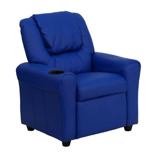 MFO Contemporary Blue Vinyl Kids Recliner with Cup Holder and Headrest