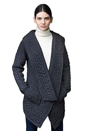 West End Knitwear Irish Cable Knit Wool Waterfall Cardigan (Small)