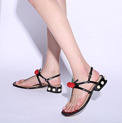 Sra. Xia perlas de cereza sandalias sandalias de tiras de las mujeres zapatos romanos con la solapa salvaje gruesa Black