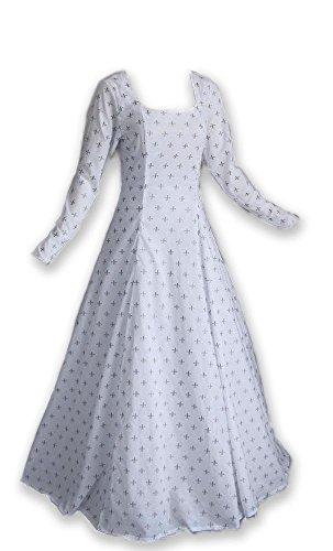 Renaissance Medieval Gown with Fleur De Lis Pattern (Small, White)
