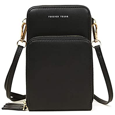 Small Crossbody Bag Cellphone Purse Wallet Lightweight Shoulder Bags Handbags with Credit Card Slots for Women Travel Black Size: Large