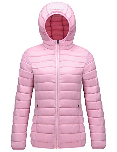 (SUNDAY ROSE Packable Puffer Jacket Women Slim Fit Lightweight Quilted Jacket Hooded Pink - Size L)