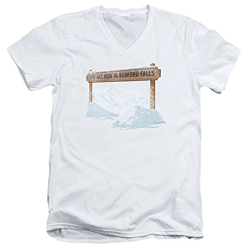 Its A Wonderful Life Bedford Falls Unisex Adult V-Neck T Shirt for Men and Women, Medium White