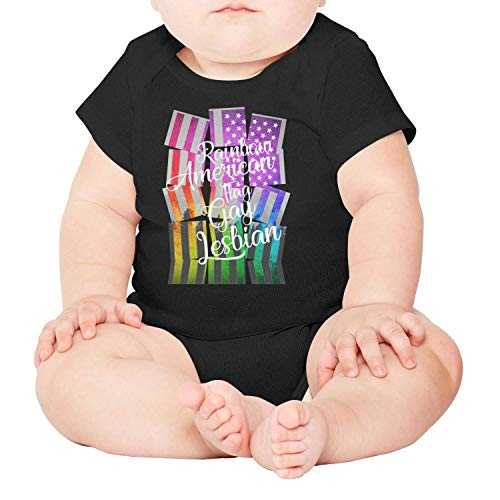 Rainbow American Flag Gay Lesbian Baby Onesies Black Outfits Short Sleeve Cotton Outdoor