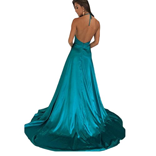 Halter Gowns Deep Dreagel Dresses Evening Prom with Blue Backless Slit V Sexy Neck Party Wedding fPxxAqB