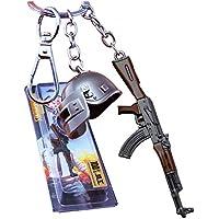 Wildstags PubG Level 3 Helmet with AKM Gun Silver, Brown Keychain