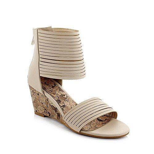 Allhqfashion Mujeres Pu Cremallera Sólida Open Toe Kitten-heels Wedges-sandals Beige