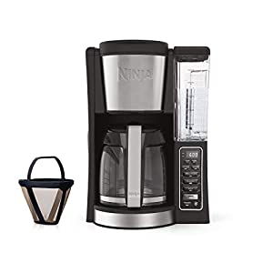 Ninja 12-Cup Programmable Coffee Maker with Classic and Rich Brews, 60 oz. Water Reservoir, and Thermal Flavor Extraction (CE201), Black/Stainless Steel