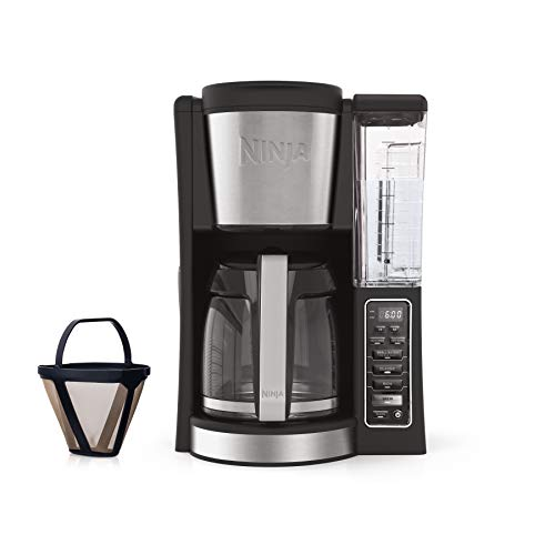 Ninja 12-Cup Programmable Coffee Maker with Classic and Rich Brews, 60 oz. Water Reservoir, and Thermal Flavor Extraction CE201 , Black Stainless Steel