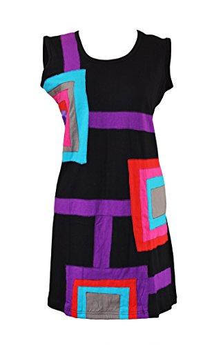 Señoras colorido Sleevless Vestido Con plaza Patch Diseño Negro