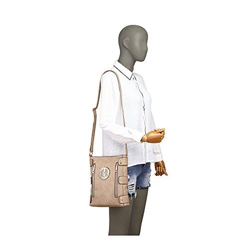 Damen Mode lang Promi Zipper Detaillierte Messenger Tasche Hot Selling Umhängetaschen Taschen CWJM252 CWJM612 CWRM150961 Handgepäck Apricot u5ePb3hZd