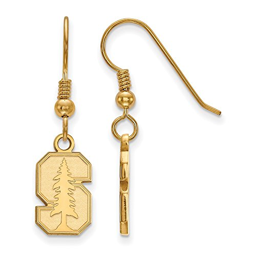 Sterling Silver w/ 14K Yellow Gold-Plated LogoArt Official Licensed Collegiate Stanford University (SU) Small Dangle Earrings by LogoArt