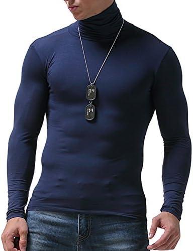 Manga Larga Camiseta Térmica para Hombre Invierno Cuello Alto ...