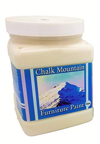 Chalk Mountain Brushes Quality Chalk Furniture Paint Zero VOC and Low Odor 51 Beachy and Earthy Colors to Select from Available in 3 Sizes 32oz #8 Mellow White