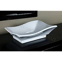 Bathroom White Ceramic Porcelain Vessel Vanity Sink 7459 + *FREE Pop Up Drain*