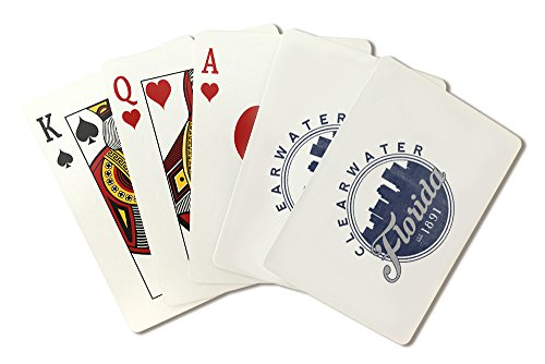 Clearwater, Florida - Skyline Seal (Blue) (Playing Card Deck - 52 Card Poker Size with Jokers)