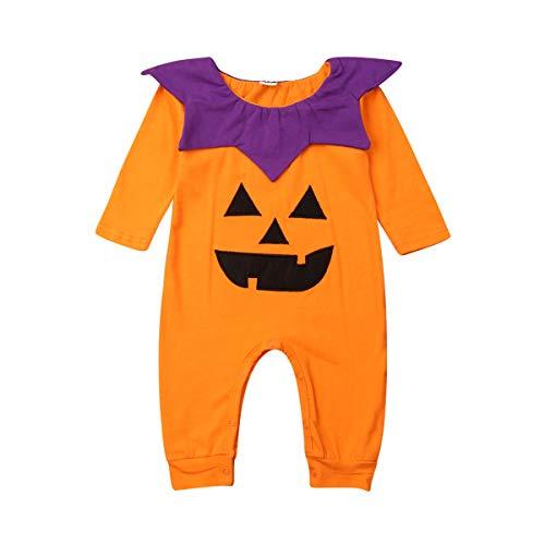 (Unisex Newborn Baby Halloween Clothes Infant Girls Boys Long Sleeve Romper Bodysuits Orange Pumpkin Jumpsuit 0-18M)