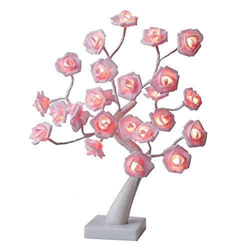 (Vanthylit LED Rose Table lamp Decor,18 inch 24 LED Warm White Light,Decorate Pink Rose for Home/Christmas/Party/Wedding/Valentine's Day)