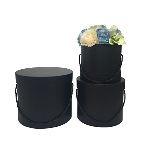 6cys six color choose 3PCS/set florist packing gift flowers/chocolate box round box,Pure color without printing,florist bouquet wedding party decoration paper box (black)