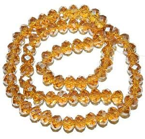 Steven_store CR458 Golden Topaz Brown AB 8mm Rondelle Faceted Cut Crystal Glass Bead 16