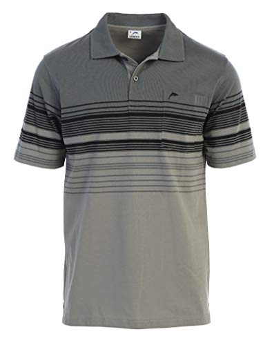 Gioberti Mens Slim Fit Striped Polo Shirt with Pocket, Charcoal B with Dolphin Logo, X-Large (Big And Tall Polo Shirts With Pockets)
