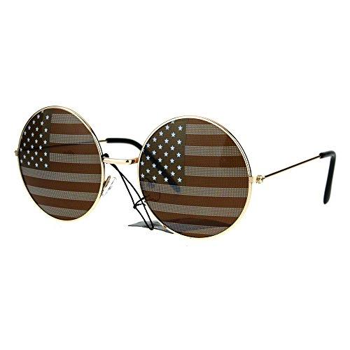 USA Flag Print Lens Sunglasses Round Circle Frame America US Flag - Lens Circle Usa
