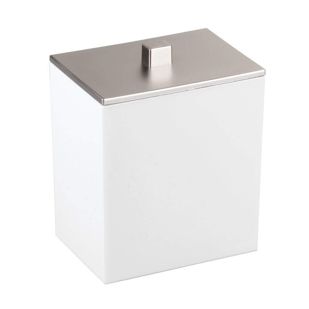 blanco//plateado Modernos botes con tapa para productos de aseo Dispensador de discos de algod/ón y caja para bastoncillos Fabricados en pl/ástico mDesign Juego de 2 envases para cosm/éticos