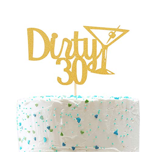 Dirty 30 Cake Topper and Champagne Glass - Cheer to 30 Years Cake Topper -Gold Glitter Hello 30-30th Birthday/Wedding Anniversary Party Decoration (Glass Cake Topper)