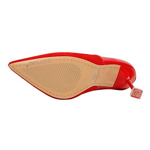 Talons Verni Red Hauts Pompes Femmes Chaussures Haut Profonde Clubbing Toe Stiletto en Soirée De Cuir Court Peu Shoes Talon Sexy Bouche Pointu 1TSZwg1FqR
