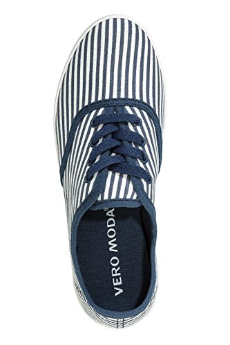 Vero Moda Damen Canvas Sneaker Low Top Basic Sportschuhe Snow White/Navy Blazer