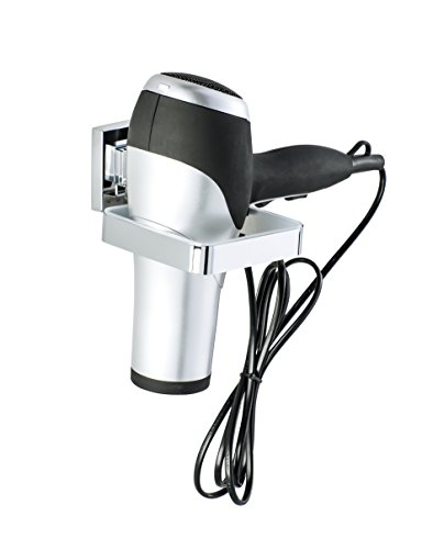 WENKO Vacuum-Loc Quadro Wall-Mounted Hair Dryer Holder, No Drilling Required, Chrome