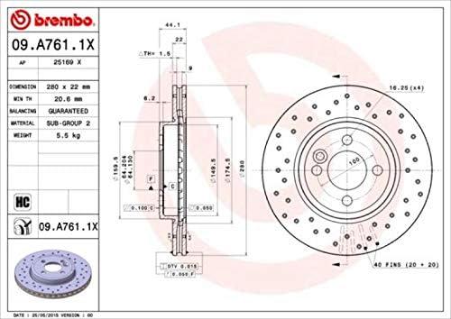 BREMBO XTRA LINE Sport Bremsscheiben /Ø300mm gelocht BREMBO Bremsbel/äge Bremsbelagsatz vorne Vorderachse