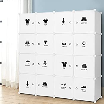 16 Cube Modular DIY Storage Cube Organizer By LANGRIA 4 Tier Shelving  Bookcase Cabinet Closet
