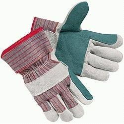 Economy Leather Palm Gloves - Memphis 1211J Men's Economy Leather Palm Gloves White/Red Large 12 Pairs