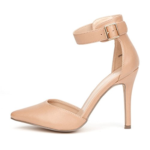 DREAM PAIRS Oppointed-Ankle Women's Pointed Toe Ankle Strap D'Orsay High Heel Stiletto Pumps Shoes Nude Pu Size 9