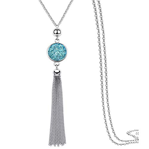 Metal Alloy with Tassel Sweater Chain Length Color Resin Drop Pendant for Girl ()