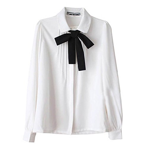 Etosell Lady Bowknot Baby Collar Long Sleeve OL Chiffon Button Shirt White M