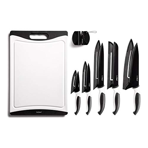 EatNeat 12-Piece Kitchen Knife Set - 5 Black Stainless Steel Knives with Sheaths, Cutting Board, and a Sharpener - Razor Sharp Cutting Tools that are Kitchen Essentials for New Home