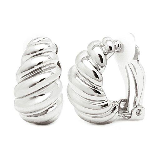 Clip on Earrings Shrimp Style Polished Rhodium Plated Classic Women Fashion (Shrimp Style Ring)