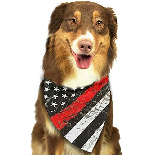 Dog Bandana USA Thin Red Line Firefighter Axe Triangle Bibs Scarf Printing Kerchief Set Accessories Dogs Cats Pets -
