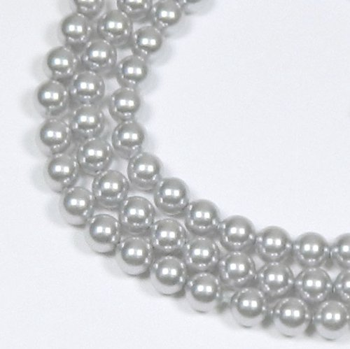 200 Swarovski Crystal Glass Pearls 3mm Round Beads (5810). 24 Inch Loose Strand (Light -