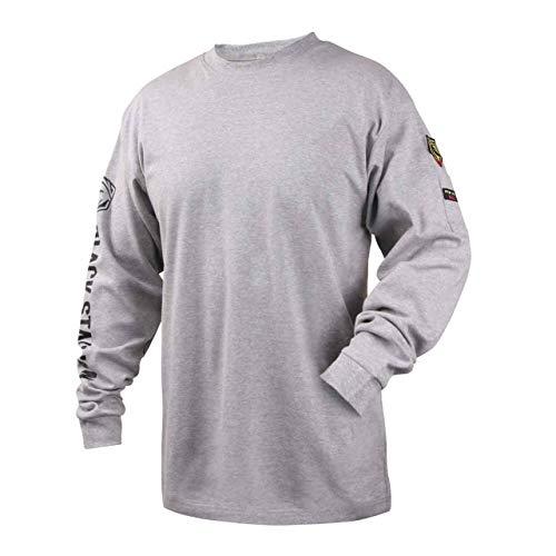 Black Stallion TF2510-GY NFPA 2112 & NFPA70E FR Cotton Knit Long-Sleeve T-Shirt, Gray, X-Large